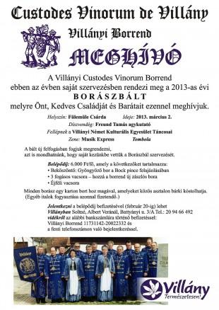 2013. március 2-án 18.00 órától a villányi Fülemüle Csárdában